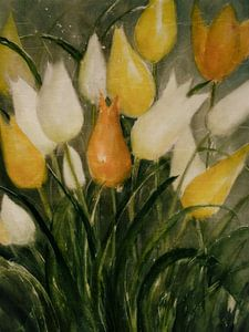 Gele en witte tulpen