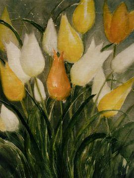 Gele en witte tulpen van Christine Nöhmeier
