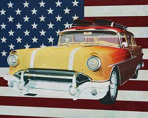 Pontiac Safari Station Wagon Surfer Edition 1956 met vlag van de U.S.A.