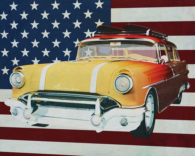 Pontiac Safari Station Wagon Surfer Edition 1956 met vlag van de U.S.A. van Jan Keteleer