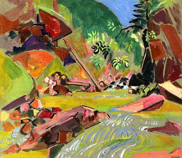 Waldbach mit Felsen, OSKAR MOLL, 1920 von Atelier Liesjes