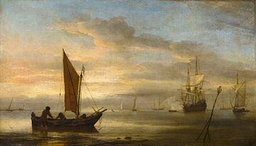 Zonsondergang op zee, Willem van de Velde de Jongere