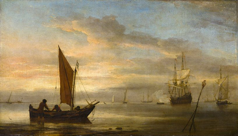 Sonnenuntergang auf See, Willem van de Velde der Jüngere von Meesterlijcke Meesters