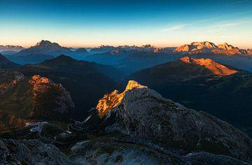 Sonnenaufgang Dolomiten von Frank Peters