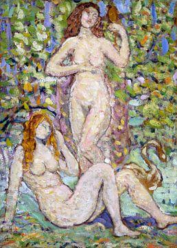 Maurice Prendergast, Zwei nackte Frauen mit Schwan - 1913 von Atelier Liesjes