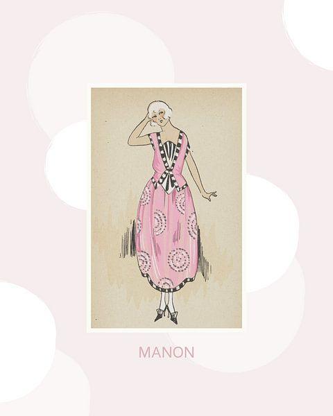 Manon   Rosa, süßer Art Deco Fashion Print   Historische Mode   Retro-Design von NOONY