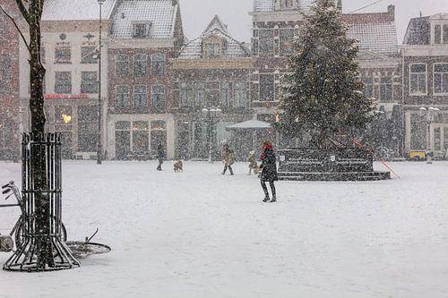 Schnee auf dem Hof in Amersfoort