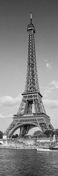 PARIS Eiffeltoren & Rivier Seine Panorama | Monochroom van