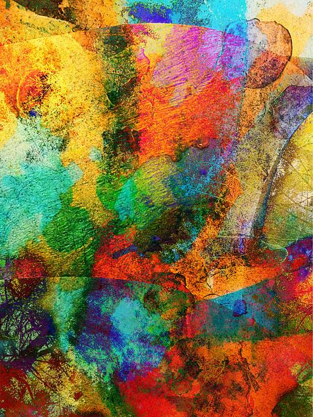 Modern, Abstract kunstwerk - Tripping on Fireworks van Art By Dominic