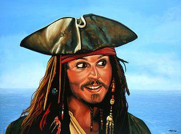 Johnny Depp als Jack Sparrow Schilderij von Paul Meijering