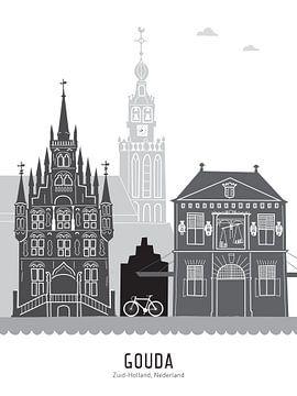 Skyline illustratie stad Gouda zwart-wit-grijs van Mevrouw Emmer