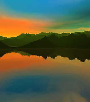 Coucher de soleil dans les montagnes 14 van