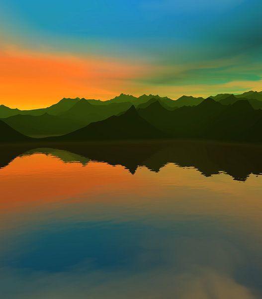 Coucher de soleil dans les montagnes 14 van Angel Estevez