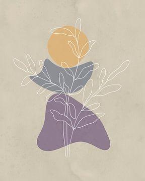 Minimalistisch design met een bladplant in lichte kleuren van Tanja Udelhofen