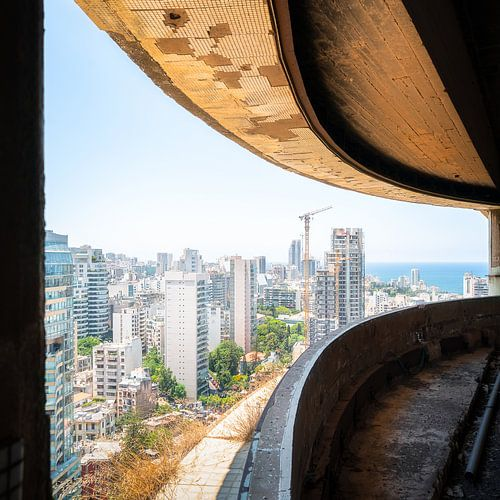 Uitzicht op Beiroet vanuit Holiday Inn Hotel.