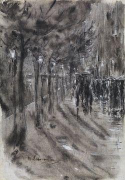 Abendliche Straßenszene in einer Stadt bei Regen, MAX LIEBERMANN, 1919 von Atelier Liesjes