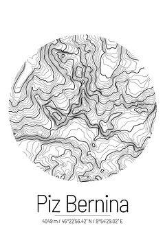 Piz Bernina | Kaart Topografie (Minimaal) van ViaMapia