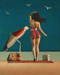 Strand-Pin-up-Kunst - Tanzen mit den Möwen von Jan Keteleer