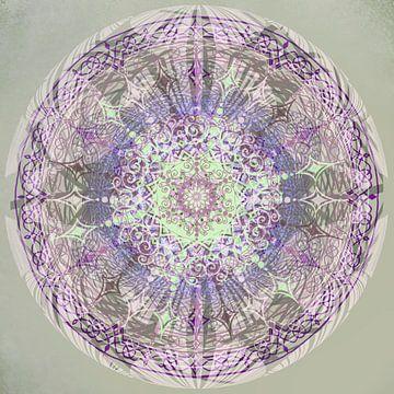 Kaleidoscoop paars,grijs,groen van Rietje Bulthuis