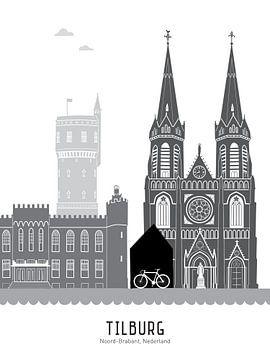 Skyline illustratie stad Tilburg zwart-wit-grijs van Mevrouw Emmer