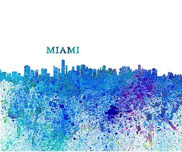 Miami Florida Skyline Silhouette Impressionistisch van Markus Bleichner