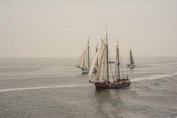 Oude schepen op de Waddenzee van