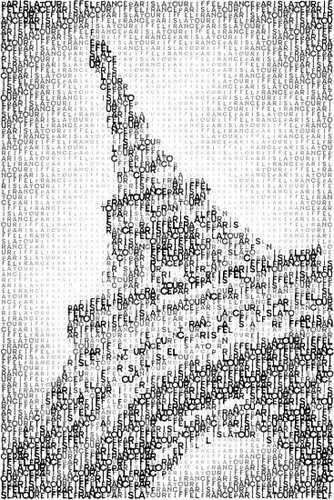 Typografie, kunst, PARIS Eiffel toren  van Melanie Viola