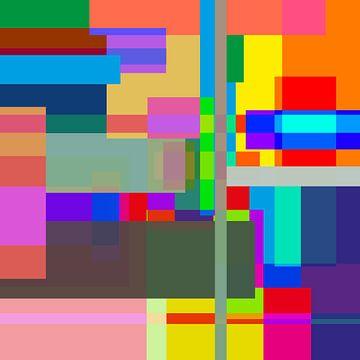 Kleurrijke vlakken kunst van Nicole Roozendaal