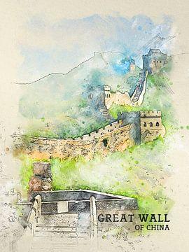 Grote Muur van China van Printed Artings