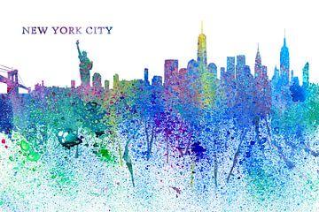 New York City Skyline Silhouette Impressionistisch van Markus Bleichner