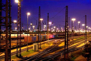 Hamburg: rangeer station in Freeport terrein van