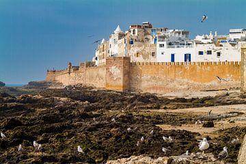 Stadsmuur in vissersdorp Essaouira van Easycopters