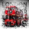 Graphic Art LONDON WESTMINSTER Buses | Typography van Melanie Viola thumbnail