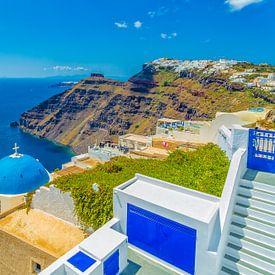 Firostefani en Imerovigli, Santorini (Griekenland) van Tux Photography