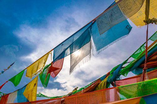 Zonlicht gefilterd door gebedsvlaggen, Tibet