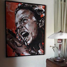 Klantfoto: Eddie Vedder, Pearl Jam schilderij van Jos Hoppenbrouwers, op canvas