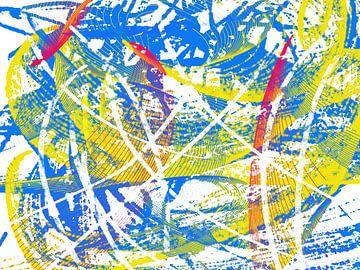 Abstract in rood geel blauw van Maurice Dawson