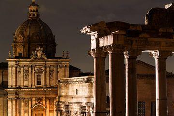 Forum Romanum in Italië bij nacht van Kris Christiaens