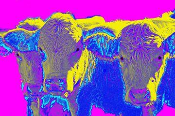 Fröhlich Pop-Art-Skulptur von drei Kühen