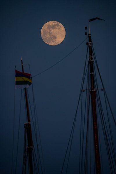 Volle maan tussen 2 masten van Marjolein van Roosmalen