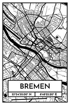 Bremen – City Map Design Stadtplan Karte (Retro) von ViaMapia