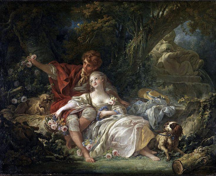 François Boucher - Herder en Herderin van 1000 Schilderijen