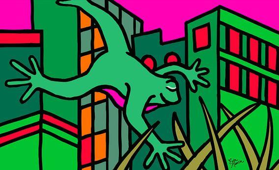 Kikker in New York bij nacht van Eva van den Hamsvoort