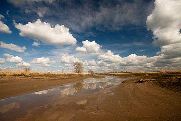 Schöne Wolken über dem Fluss De Lek sur Peter Halma