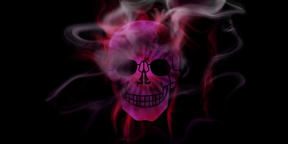 Digital-Art Smoke & Pink Skull Panoramic