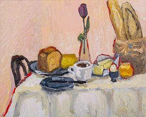 Frühstück mit Kaffee und Baquette