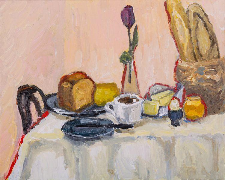 Ontbijt met koffie en baquette van Tanja Koelemij