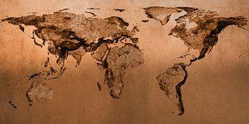Bronzen wereldkaart, molaire projectie van Frans Blok