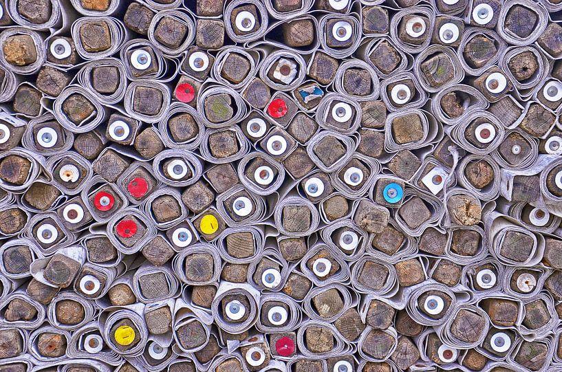Opgerolde marktkramen, Rotterdam van Frans Blok