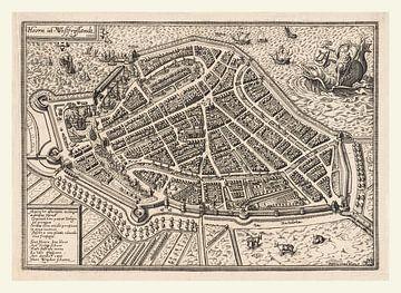 Kaart of plattegrond van de oude stad Hoorn uit ca 1596 met wit kader van Gert Hilbink